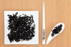 Arame Seaweed. On a white plate and dish over bamboo with chopsticks Royalty Free Stock Images