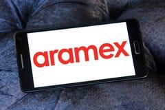 Aramex postal shipping company logo. Logo of aramex postal shipping company on samsung mobile phone Stock Images