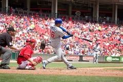Aramis Ramirez. Third baseman Aramis Ramirez  of the Chicago Cubs gets a hit against the Cincinnati Reds at the Great American Ballpark in Cincinnati, Ohio on Royalty Free Stock Photo