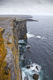 Aran Islands Cliffs. Rainy Day Stock Photo