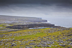 Aran Islands Landscape. Rainy Day. Aran Islands, Ireland. View from the stone fort on top of Inishmore in a rainy day Royalty Free Stock Image