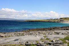 Aran islands quite landscape. Aran islands landscape in Ireland, view of Inisheer with its small village Royalty Free Stock Image