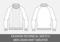 Aran technique de knit d'hommes de croquis de mode droit Images stock