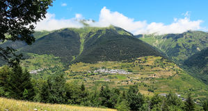 Aran valley in the Catalan Pyrenees, Spain. Panorama to Aran valley in the Catalan Pyrenees, Spain Royalty Free Stock Photography