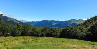 Aran valley in the Catalan Pyrenees, Spain. Panorama to Aran valley in the Catalan Pyrenees, Spain Royalty Free Stock Photo
