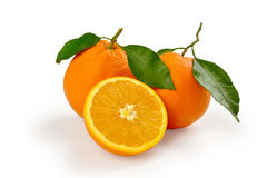 Arance con sfondo bianco. Two oranges and a half orange with white background Stock Images