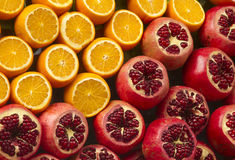 Arance e pomegranat freschi Fotografia Stock Libera da Diritti