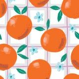 Arance, fiori e foglie astratti variopinti dipinti a mano sul fondo del plaid L'estate fruttifica modello senza cuciture di vetto illustrazione vettoriale