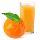 Aranci e succo di arancia Fotografie Stock