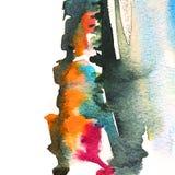 Arancia astratta dell'acquerello e fondo grigio illustrazione di stock
