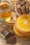 Arancia, cannella e miele Fotografia Stock Libera da Diritti