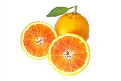 Arancia con due halfs Fotografie Stock