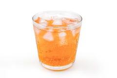 Arancia con ghiaccio in vetro Fotografia Stock Libera da Diritti