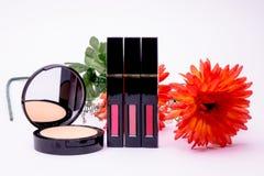 Arancia dei fiori, spazzola del rossetto della polvere per le donne, Fotografia Stock
