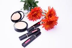 Arancia dei fiori, spazzola del rossetto della polvere per le donne, Immagine Stock