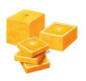 Arancia del quadrato su fondo bianco Fotografie Stock