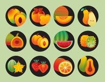 Arancia dell'icona della frutta Fotografie Stock