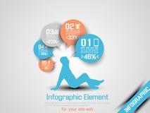 Arancia 9 di opzione tre del infographich dell'uomo di affari Fotografia Stock