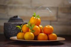 Arancia dolce, festival di primavera cinese, grazie al tributo, fortuna di 'chi' di Fu grande, Fotografia Stock