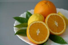 Arancia e limone organici sul piatto bianco con i precedenti grigi Fotografia Stock Libera da Diritti
