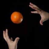 Arancia e mani Immagini Stock