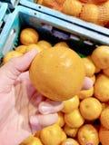 Arancia fresca, il gusto agrodolce a proposito, ho dovuto prendere la nuova arancia fotografia stock