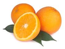 Arancia fresca isolata su bianco Fotografie Stock Libere da Diritti