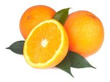 Arancia fresca isolata su bianco Fotografie Stock