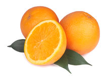 Arancia fresca isolata su bianco Fotografia Stock Libera da Diritti