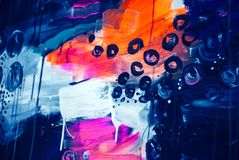 Arancia grigia bianca rosa blu della pittura di tiraggio della pittura di acrilici del fondo di struttura di colore della cascata fotografie stock libere da diritti