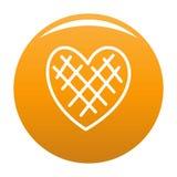 Arancia impressionabile dell'icona del cuore illustrazione di stock