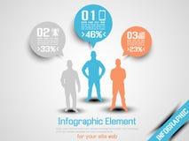 Arancia infographic 2 di ortion tre dell'uomo di affari Fotografie Stock Libere da Diritti