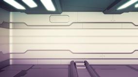 Arancia interna dei corridoi dell'astronave di fantascienza della stanza di romanzo del fondo di scienza, rappresentazione 3D illustrazione vettoriale