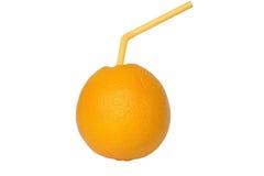 Arancia matura con paglia Fotografia Stock