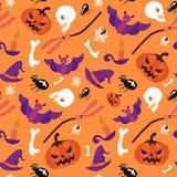 Arancia spaventosa spettrale del modello di vettore senza cuciture di Halloween Immagine Stock