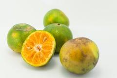 Arancia su bavkground bianco Fotografia Stock