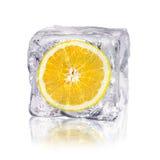 Arancia in un cubetto di ghiaccio Fotografie Stock Libere da Diritti