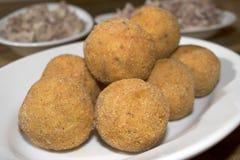 Arancina. Mediterranean appetizers and food:fried arancine Royalty Free Stock Photos