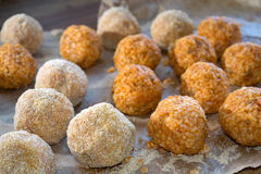 Arancina. Sicilian rice croquette ready to be cooked Stock Photography