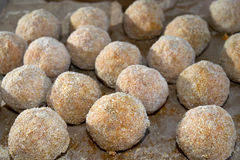 Arancina. Sicilian rice croquette ready to be cooked Stock Photos