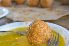 Arancina. Sicilian rice croquette ready to be cooked Royalty Free Stock Photography
