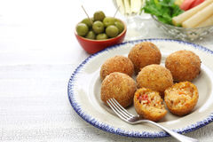 Arancini di riso, italian risotto rice balls. Arancini di riso, fried risotto rice balls, italian sicilian food Stock Photos