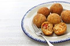 Arancini di riso, italian risotto rice balls Royalty Free Stock Image