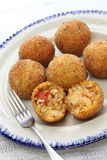 Arancini di riso, italian risotto rice balls. Arancini di riso, fried risotto rice balls, italian sicilian food Stock Photography
