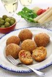 Arancini di riso, italian risotto rice balls. Arancini di riso, fried risotto rice balls, italian sicilian food Stock Images