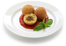 Arancini, fried rice balls. Italian cuisine Royalty Free Stock Photo
