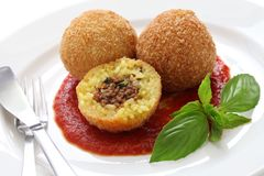 Arancini, fried rice balls. Italian cuisine Stock Photos