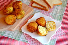 Arancini - fried rice balls. Arancini recipe. Fried rice balls. Italian appetizer. Italian arancini Stock Photo