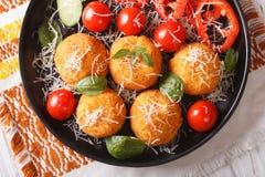 Arancini rice balls with parmesan closeup. horizontal top view Royalty Free Stock Photo