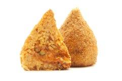 Arancini. Sicilian conical shaped arancini on a white background Stock Photography